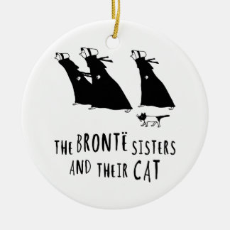The Bronte Sisters and Their Cat Round Ceramic Decoration