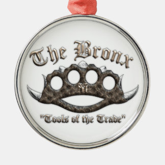 The Bronx - Spiked Brass Knuckles Silver-Colored Round Decoration