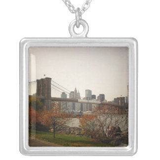 The Brooklyn Bridge and Autumn Trees, NYC Square Pendant Necklace