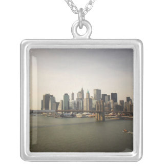 The Brooklyn Bridge and the New York City Skyline Square Pendant Necklace