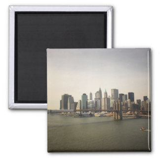 The Brooklyn Bridge and the New York City Skyline Square Magnet