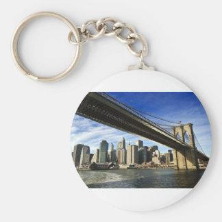 The Brooklyn Bridge Basic Round Button Key Ring