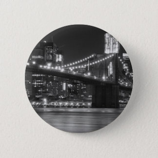 The Brooklyn Bridge - Black and White 6 Cm Round Badge