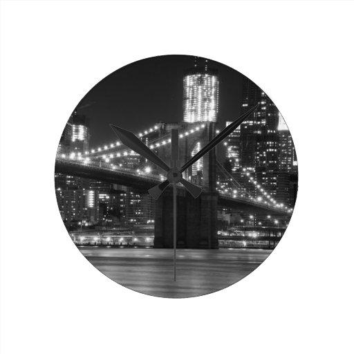 The Brooklyn Bridge - Black and White Round Wallclock