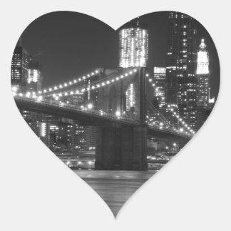 The Brooklyn Bridge - Black and White Heart Sticker