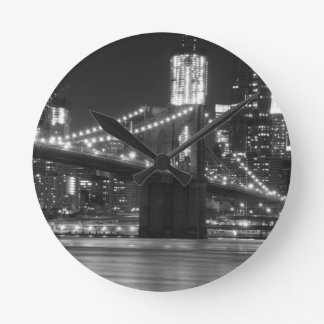 The Brooklyn Bridge - Black and White Round Clock