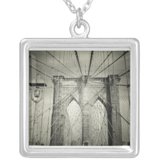 The Brooklyn Bridge in Black and White, NYC Square Pendant Necklace