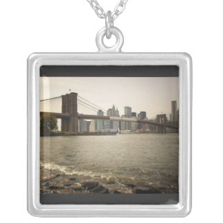 The Brooklyn Bridge, View from Brooklyn Square Pendant Necklace