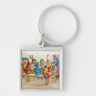 The Brownie's Christmas Dinner Silver-Colored Square Key Ring