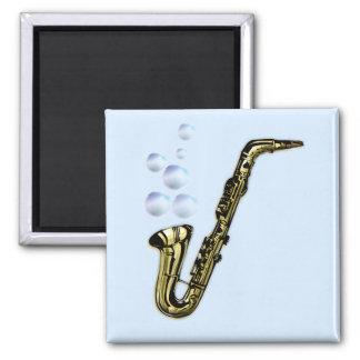 The Bubble Saxophone Square Magnet