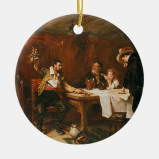 The Buccaneer's Story (oil on canvas) Round Ceramic Decoration