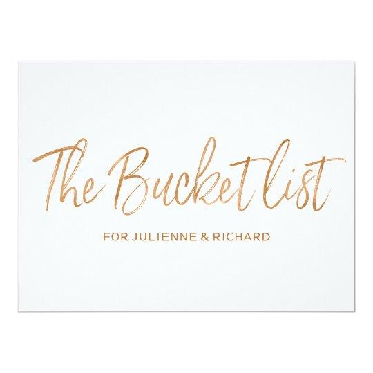 """The bucket list"" Wedding Stylish Gold Rose Sign"