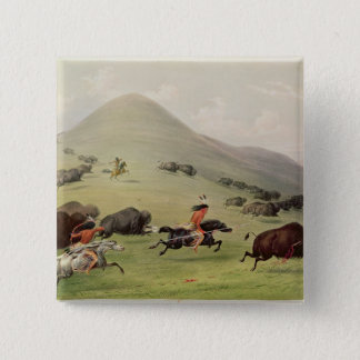The Buffalo Hunt, c.1832 15 Cm Square Badge