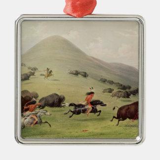 The Buffalo Hunt, c.1832 Silver-Colored Square Decoration