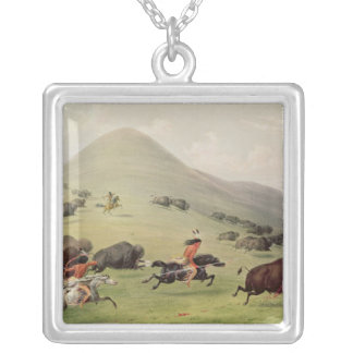 The Buffalo Hunt, c.1832 Silver Plated Necklace