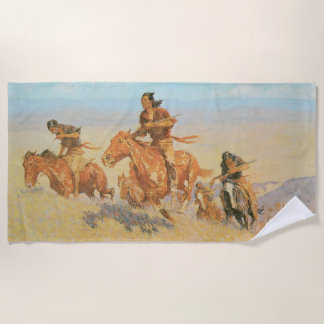 The Buffalo Runners, Big Horn Basin by Remington Beach Towel