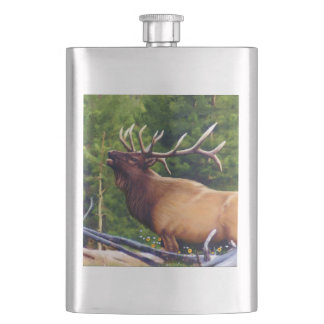 The Bugler Elk Bull Hip Flask