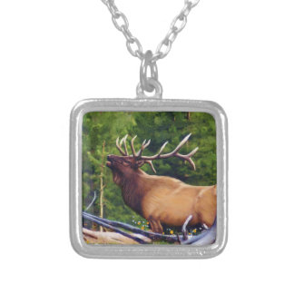 The Bugler Elk Bull Silver Plated Necklace