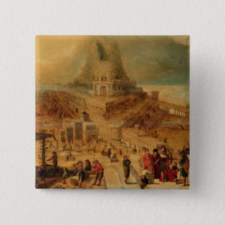 The building of the Tower of Babel (panel) 15 Cm Square Badge