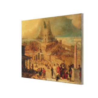 The building of the Tower of Babel (panel) Canvas Print