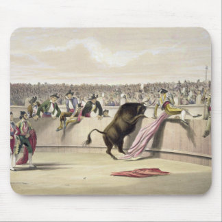 The Bull Leaping the Barriers, 1865 (colour litho) Mouse Mat