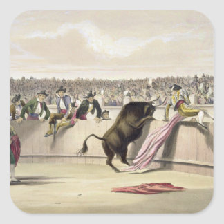The Bull Leaping the Barriers, 1865 (colour litho) Square Sticker