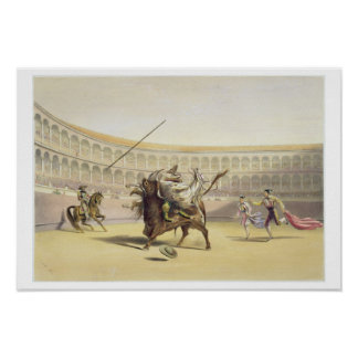 The Bull Tossing the Picador and Horse, 1865 (colo Poster