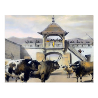 The Bulls in the Corral of the Plaza Postcard