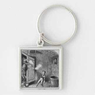 The Burglary from The Adventures of Oliver Silver-Colored Square Key Ring