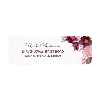 The Burgundy Flowers Bouquet Elegant Wedding Return Address Label