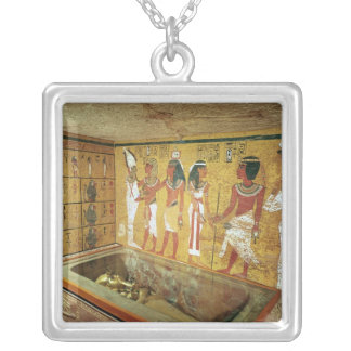 The burial chamber in the Tomb of Tutankhamun Silver Plated Necklace