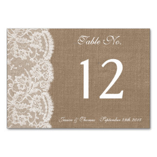 The Burlap & Lace Collection Table Number Cards Table Cards