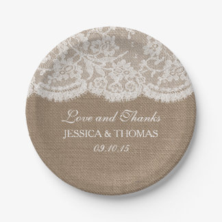 The Burlap & Lace Wedding Collection Paper Plate