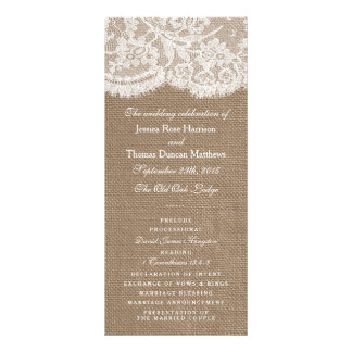 The Burlap & Lace Wedding Collection Programs Custom Rack Card