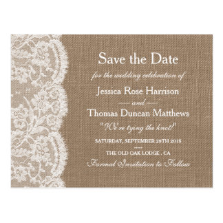 The Burlap & Lace Wedding Collection Save The Date Postcard