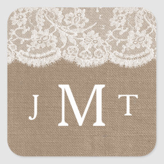 The Burlap & Lace Wedding Collection Seals Square Sticker
