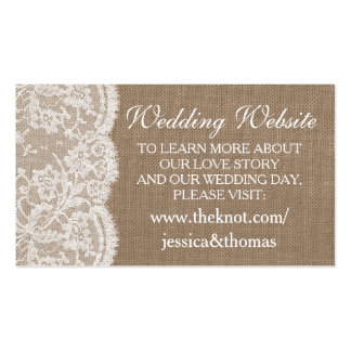 The Burlap & Lace Wedding Collection Website Cards Pack Of Standard Business Cards