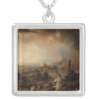 The Burning of Moscow in 1812, 1854 Square Pendant Necklace