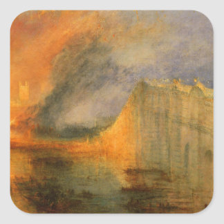 The Burning of the Houses of Parliament by William Square Sticker