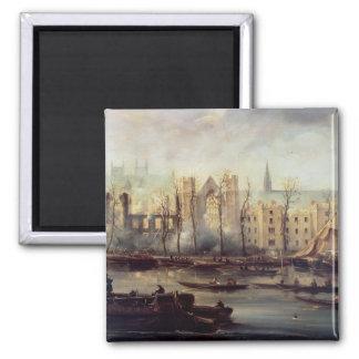 The Burning of the Houses of Parliament Square Magnet