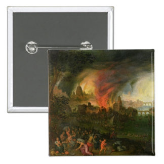 The Burning of Troy (oil on copper) 15 Cm Square Badge