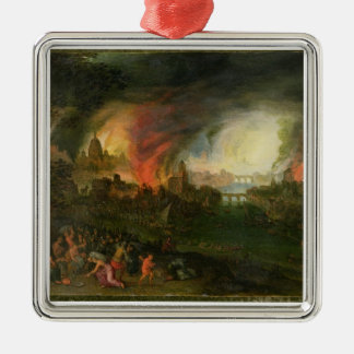 The Burning of Troy (oil on copper) Christmas Ornament