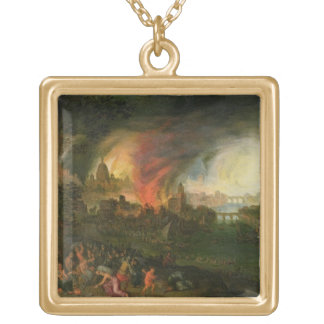 The Burning of Troy (oil on copper) Gold Plated Necklace