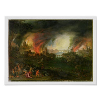 The Burning of Troy (oil on copper) Poster