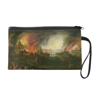 The Burning of Troy (oil on copper) Wristlet Clutches