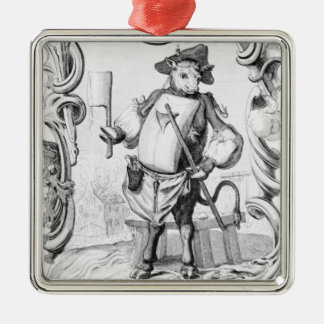 The Butcher, published 1746 Silver-Colored Square Decoration