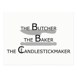 The Butcher The Baker The Candlestickmaker Postcard