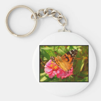 The Butterfly and the Flower Basic Round Button Key Ring