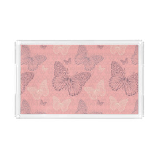 The Butterfly Pink Acrylic Tray
