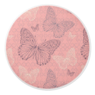 The Butterfly Pink Ceramic Knob